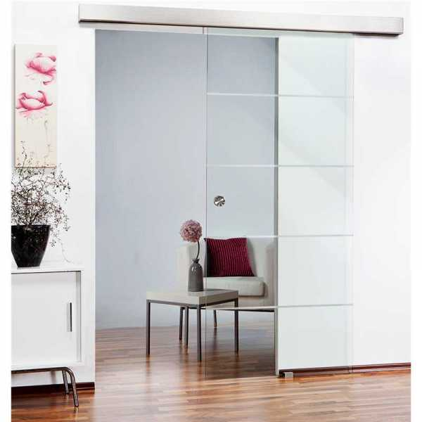 """32"""" x 81"""" Sliding Glass Barn Door with Non-Private Frosted Design + Hardware """"Open Box"""""""