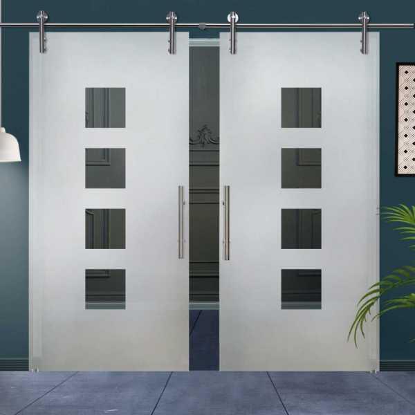 Double Sliding Glass Barn Door DSGD-V1000-0022