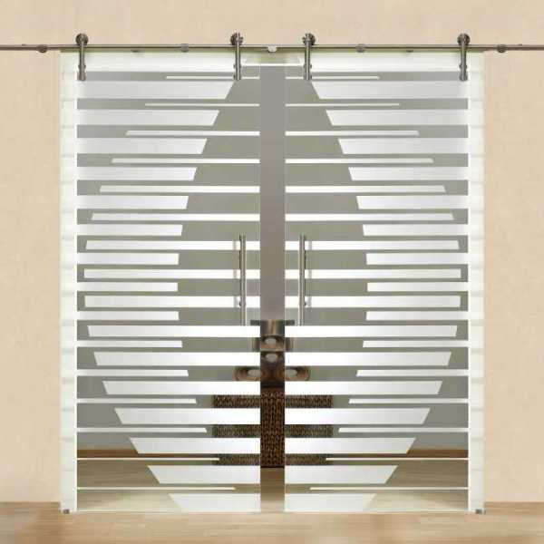 Double Sliding Glass Barn Door + Partially Clear + Frosted Lines Design