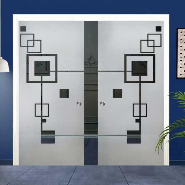 Double Pocket Glass Barn Door (Model DPSGD-0025 Semi-Private)_Recessed Grip Handle