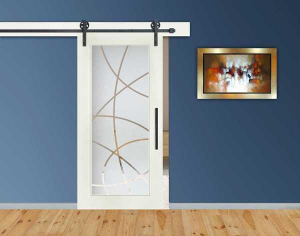 1 Lite MDF Sliding Barn Door with Glass Insert WGD-0015