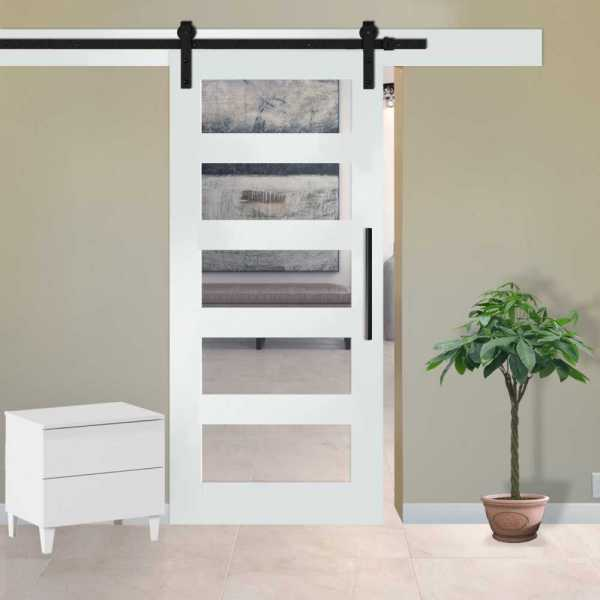 5 Lite Sliding Barn Door with Frosted, Clear or Textured Glass Inserts WGD-0023