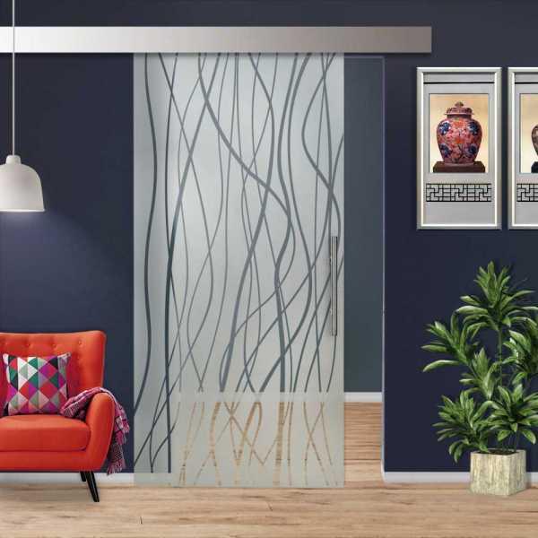 Glass Barn Door (Model SGD-ALU100-0230 Semi-Private)