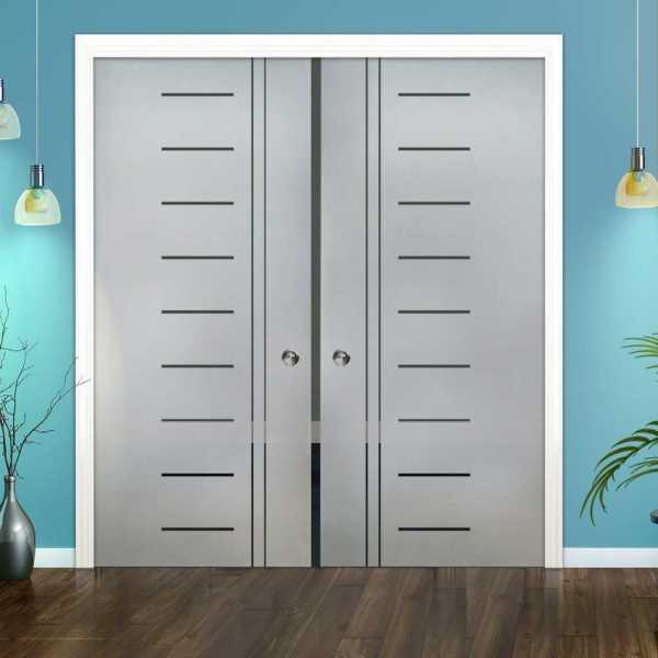 Double Pocket Glass Barn Door (Model DPSGD-0035 Semi-Private)_Recessed Grip Handle