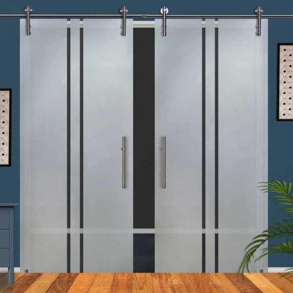 ++Sales Offers++ Double Sliding Glass Barn Door DSGD-V1000-0003