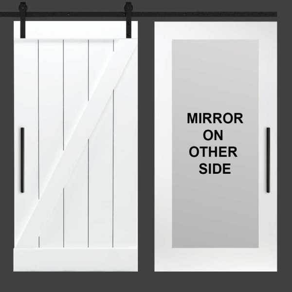 Z Mirror Solid Sliding Barn Door with Mirror Insert WMD-0005
