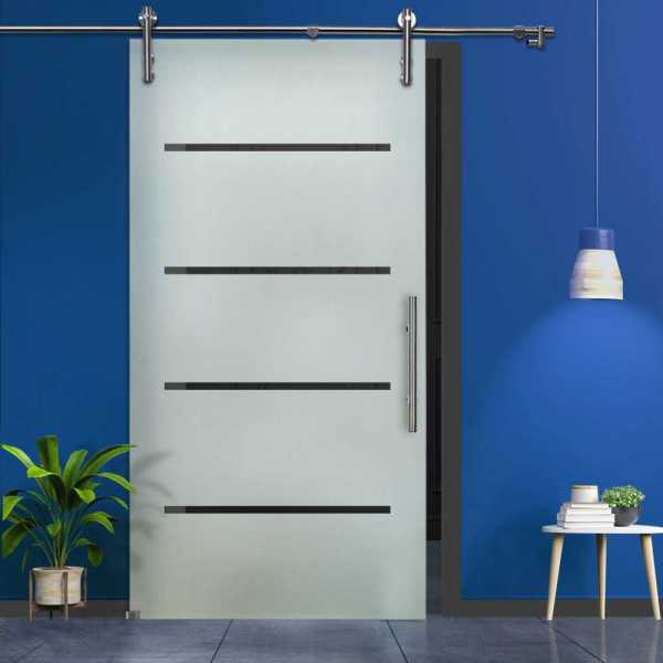 Stripes Design Sliding Glass Barn Door SGD-V1000-0063