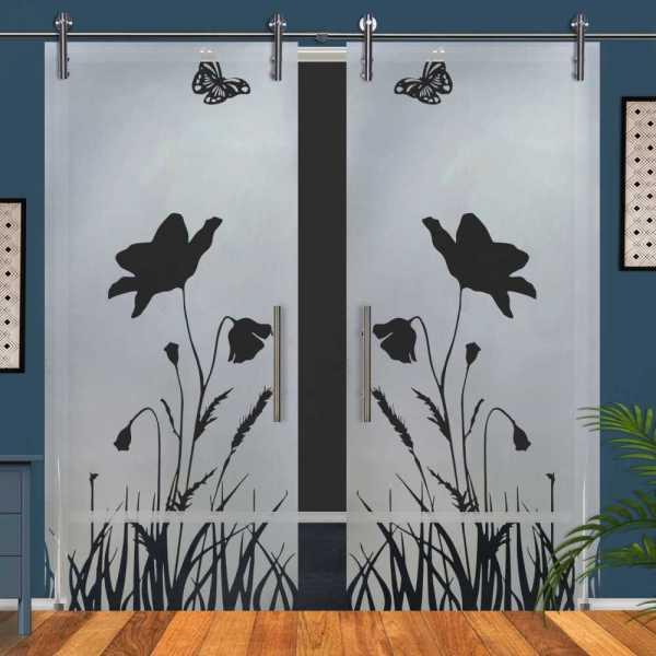 Double Glass Barn Door (Model DSGD-V1000-0072 Semi-Private)
