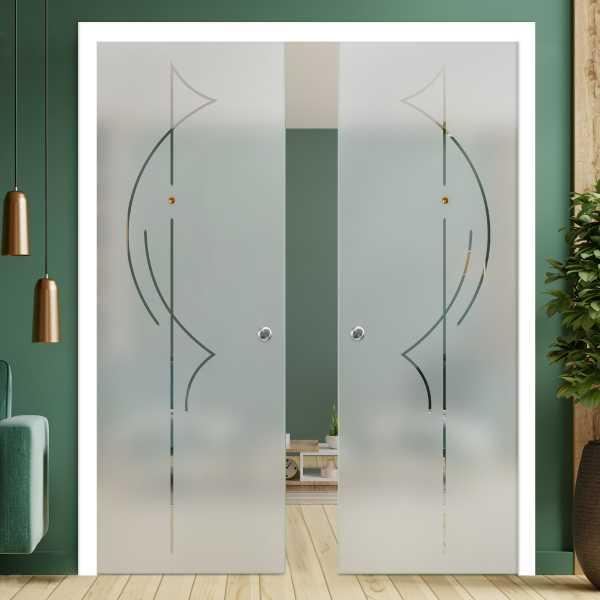 Double Pocket Glass Barn Door (Model DPSGD-0092 Semi-Private)_Recessed Grip Handle