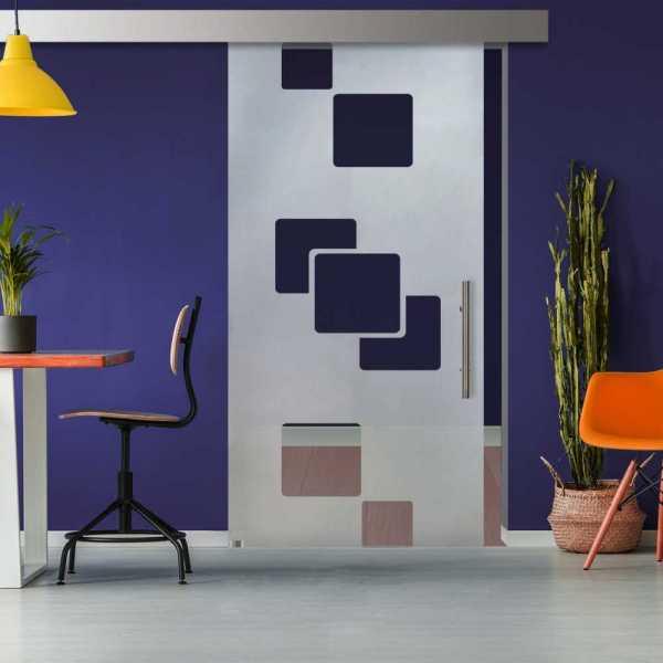 Glass Barn Door (Model SGD-ALU100-0323 Semi-Private)