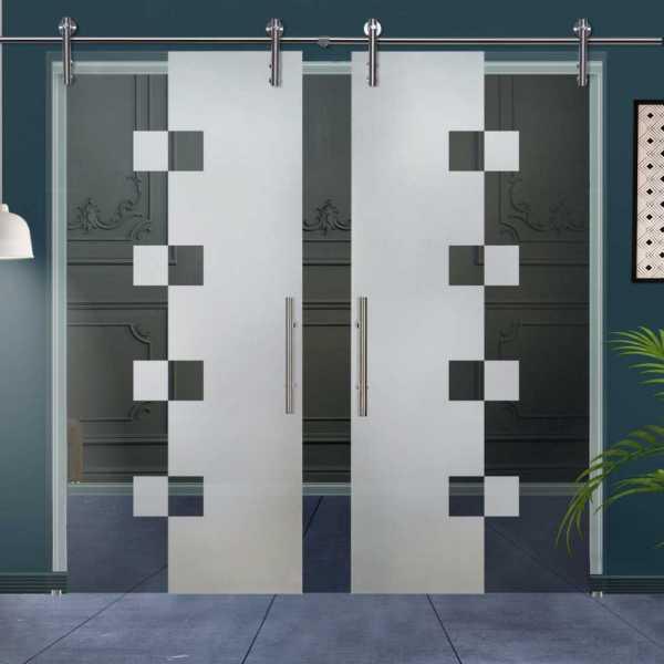 Double Sliding Glass Barn Door DSGD-V1000-0028