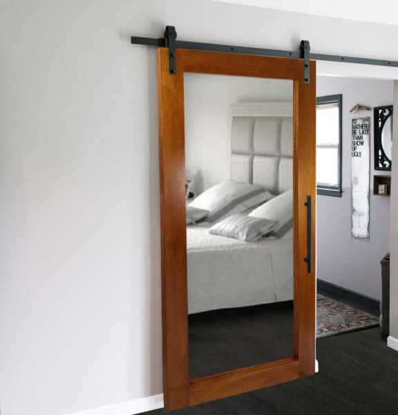 Real Solid Hardwood Sliding with Mirror Insert WD-0001