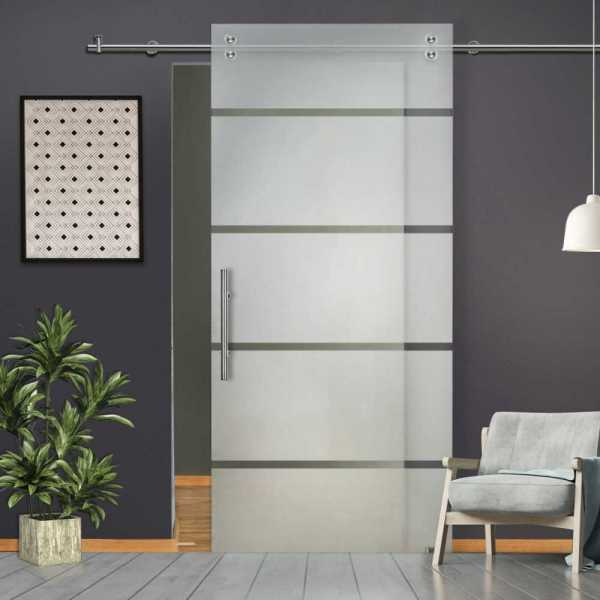 """++Sales Offers++ 28"""" x 81"""" Sliding Glass Barn Door with Frosted Design """"Open Box"""""""