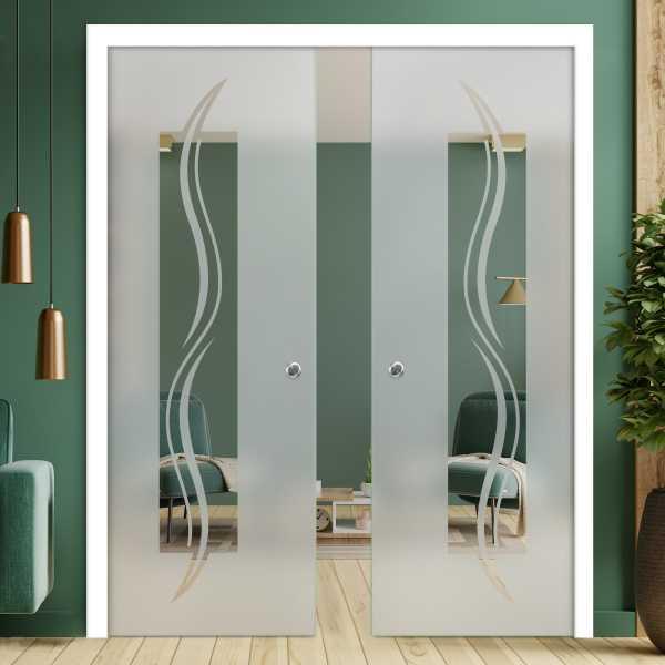 Double Pocket Glass Barn Door (Model DPSGD-0070 Semi-Private)_Recessed Grip Handle
