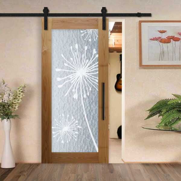 Solid Hardwood Sliding Barn Door with Textured Glass Insert and Floral Frosted Design WGD-0074