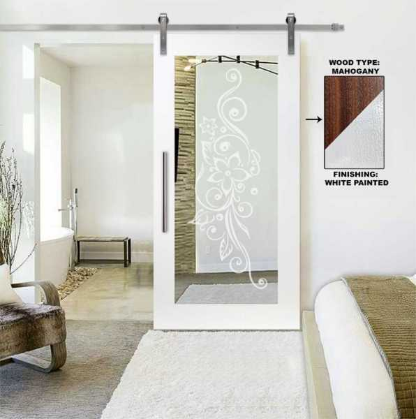Mirror Sliding Barn Door with Floral Frosted Designs WMD-0103