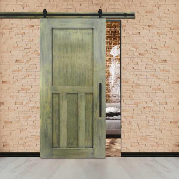 Vintage Ranch Sliding Barn Door with Double T Brace & Carbon Steel Hardware.