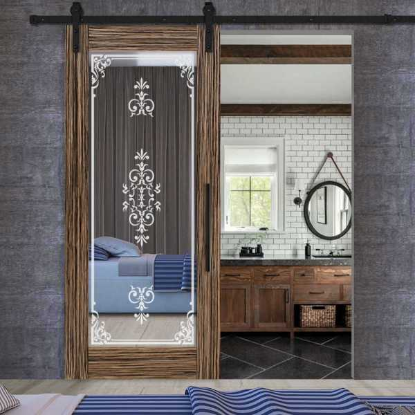 Sliding veneered barn door with mirror insert (frosted design) and carbon steel sliding system