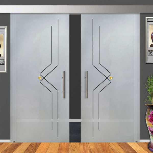 2-Leaf Glass Barn Door (Model DSGD-ALU100-0006 Semi-Private)