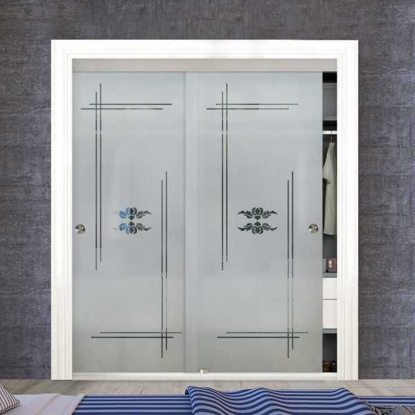 Frameless 2 Leaf Sliding Closet Bypass Glass Door with Hardware CGD-0017