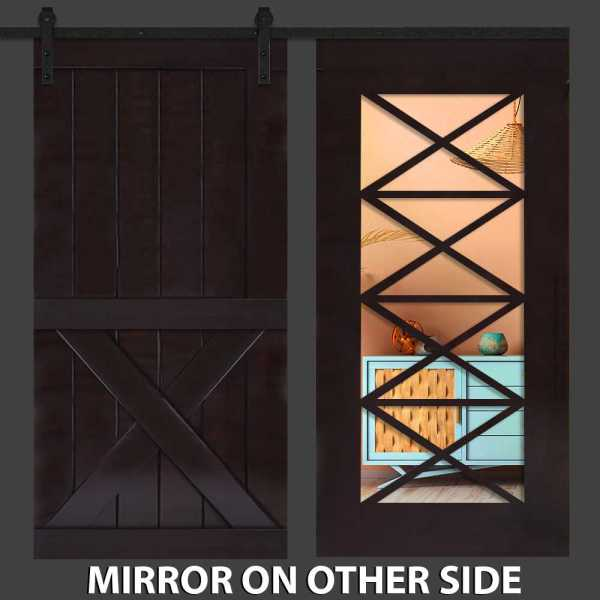 Hybrid One X Barn Door With Mirror Insert and Vertical Zigzag Frame