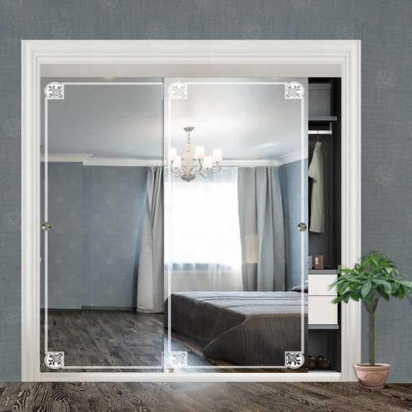 """Frameless 2 Leaf Sliding Closet Bypass Mirror Door 48"""" CMD-0007"""
