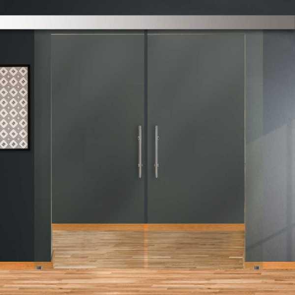 Double Sliding Barn Glass Door DSGD-ALU100-0202 (Clear)