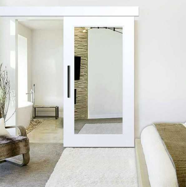 Mirror Barn Door with Hardware + Various Frosted Desings WMD-0100